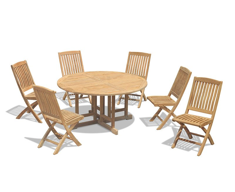 Berrington 6 Seater Drop Leaf Garden Table 1.5m and Bali Folding Chairs