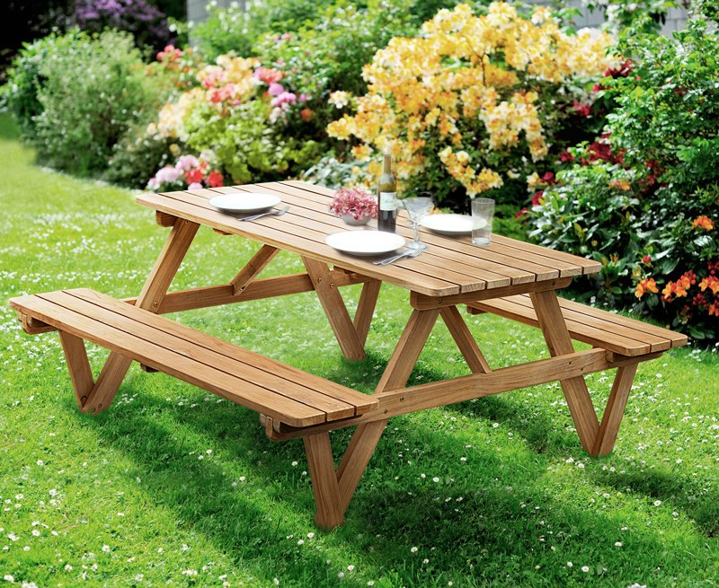 Luxury 5ft Picnic Bench, Teak Wooden Pub Bench – 1.5m