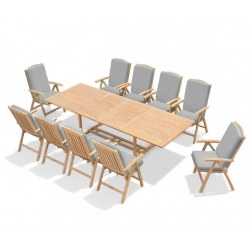 Dorchester Extending 2 - 3m Table & 10 Cheltenham Recliner Chairs