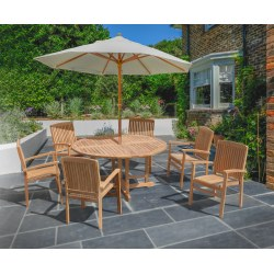 Berrington Round Gateleg Table 1.5m and 6 Bali Stacking Chairs