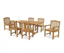 Hilgrove Rectangular 1.5m Table & 6 Clivedon Chairs, Teak Dining Set