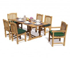 Hilgrove Rectangular 1.5m Table & 6 Clivedon Chairs, Teak Dining Set