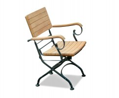 Classic Bistro Chair, Folding Armchair, Teak, Raven Black