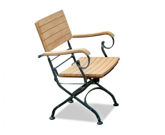 Classic Bistro Chair, Folding Armchair, Teak, Black