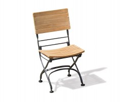 Classic Bistro Chair, Folding Side Chair, Teak, Raven Black