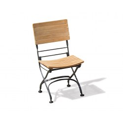 Classic Bistro Chair, Folding Side Chair, Teak, Black