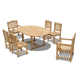 Brompton 6 Seater Extending Table 1.2-1.8m, Ascot Side Chairs & Armchairs