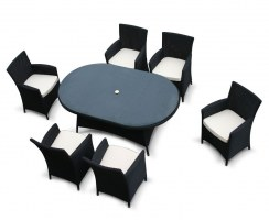 Riviera Oval Glass-Top 1.8m Table & 6 Armchairs, Black, Loom Rattan