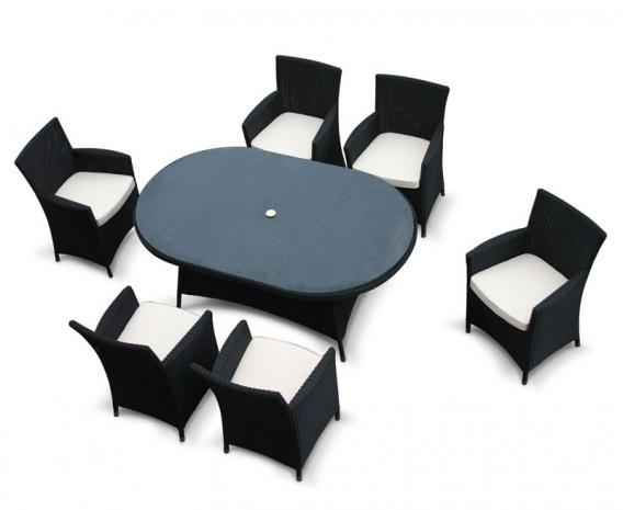 Riviera Oval Glass-Top 1.8m Table & 6 Armchairs, Black, Loom Rattan