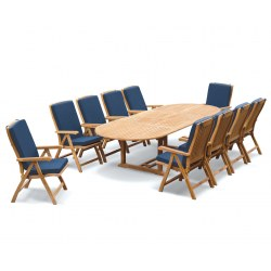Brompton Extending 2 - 3m Table & 10 Bali Recliner Chairs