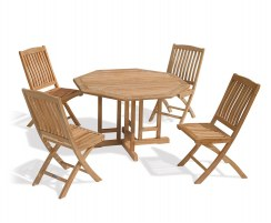 Berrington Octagonal Gateleg 1.2m Table & 4 Bali Side Chairs