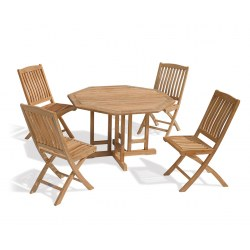 Berrington Octagonal Gateleg 1.2m Table & 4 Bali Side Chairs