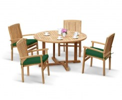 Canfield Round 1.3m Table & 4 Bali Stacking Chairs