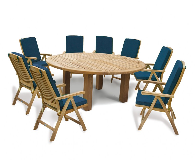 Titan Round 1.8m Table with 8 Recliners Teak Dining Set