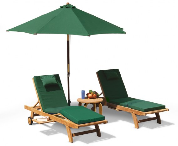 Gemini Teak Luxury Sun Loungers Set with side table and parasol