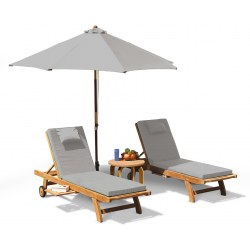 Gemini Teak Sun Loungers Set with side table and parasol