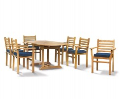 Brompton Bijou Extending 1.2 - 1.8m Table & 6 Yale Stacking Chairs Set