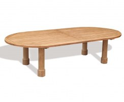 Titan Teak Oval Garden Table, round leg – 1.2 x 3m