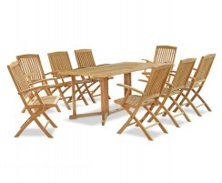 Shelley 1.8m Table with 8 Bali Folding Armchairs