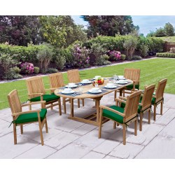 Brompton Oval Extending Table 1.2x1.8-2.4m & 8 Bali Stacking Chairs