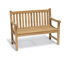 Windsor 2 Seater Teak Garden Bench, 4ft Park Bench – 1.2m