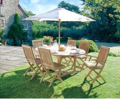 Brompton 1.2 – 1.8m Teak Extendable Table with 6 Bali Folding Chairs