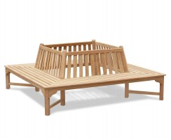 Teak Square Outdoor Tree Bench – 2.2m