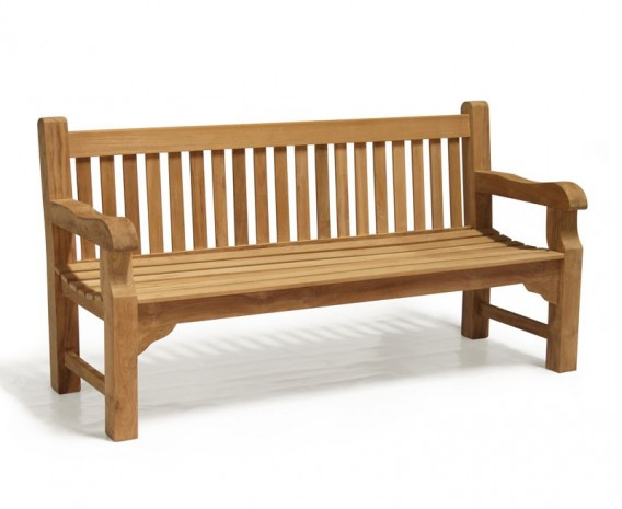 Balmoral 6ft Traditional Chunky Garden Bench, Teak Park Bench – 1.8m