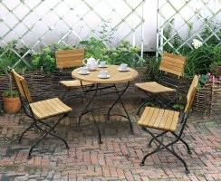 Teak Folding Bistro Round 0.8m Table & 4 Side Chairs