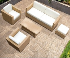 Riviera Rattan Garden Sofa Set, Rattan 5-piece Sofa Set