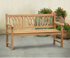 Grosvenor Decorative Teak Garden Bench, Flat Pack - 1.5m