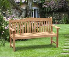 Rosette Teak Garden Bench, Flat Pack - 1.5m