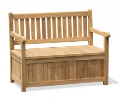 Windsor Teak Garden Storage Bench with arms – 1.2m