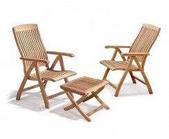 Bali Garden Reclining Chairs Set with Footrest