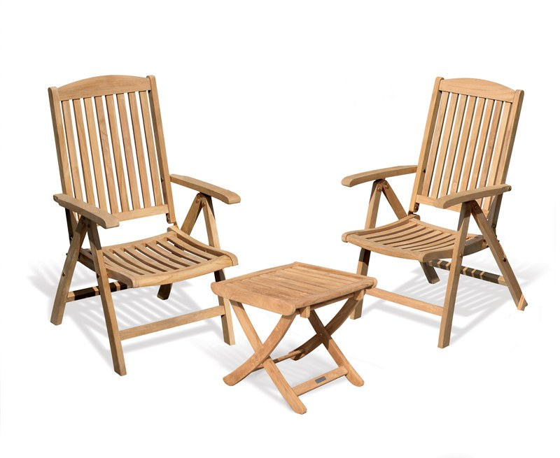 Cheltenham Reclining Garden Chairs Set with Footstool