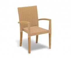 Belgrave 6 Seater Pedestal Table 1.5m and St. Tropez Rattan Stacking Chairs