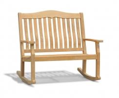 Rose Garden Teak Rocking Bench – 1.2m, 2 Seater