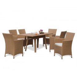 Riviera Rattan 6 Seater Patio Set with Rectangular Table 1.6m & Chairs