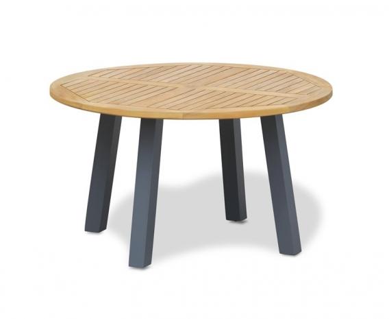 Disk Round Teak Garden Table with Steel Legs – 1.3m