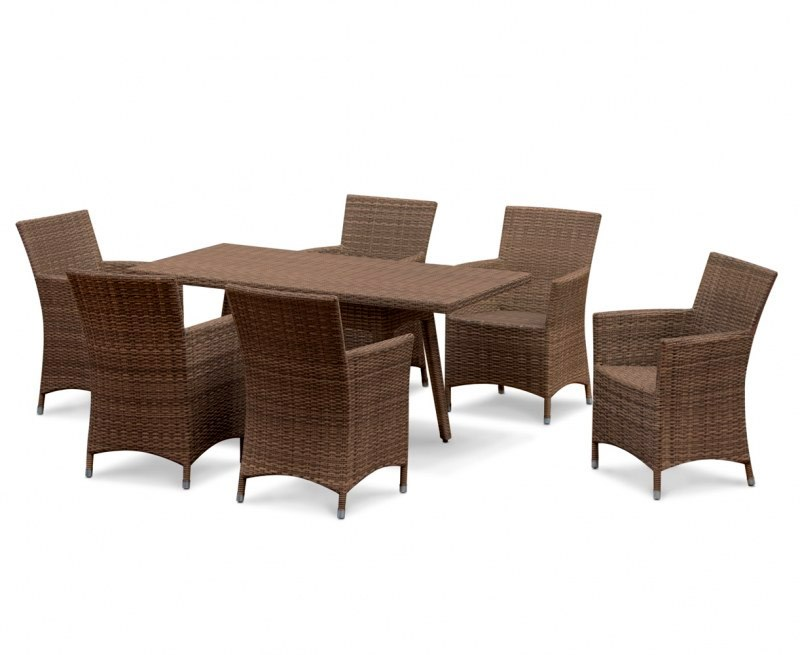 Riviera Rattan 6 Seater Patio Set with Rectangular Table 1 ...