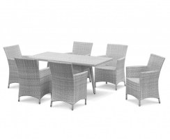 Riviera Rattan 6 Seater Set - Grey Marble