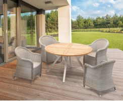 Disk Round Teak Garden Table 1.3m and 4 Eaton Rattan Armchairs