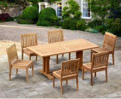 Cadogan Outdoor Pedestal Table 1.8m & 6 Hilgrove Stacking Chairs