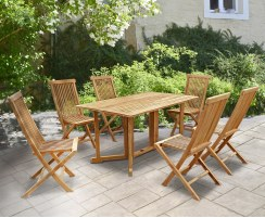 Shelley Folding Rectangular Garden Table and Chairs Set