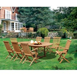 Brompton 1.1 x 1.8 - 2.4m Table & 8 Ashdown Folding Armchairs