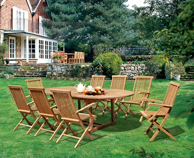 Brompton 1.1 x 1.8 - 2.4m Table & 8 Ashdown Folding Armchairs