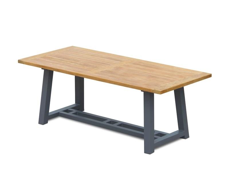 Bridgewater Teak Garden Trestle Table, Rectangular with Aluminium Legs – 2m