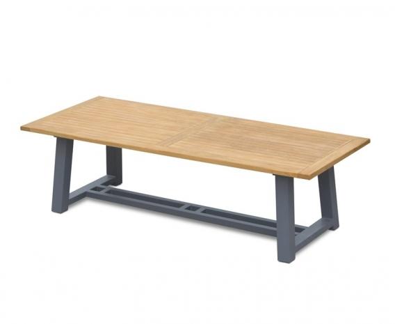 Teak Trestle Garden Table, Rectangular with Aluminium Legs – 2.6 m