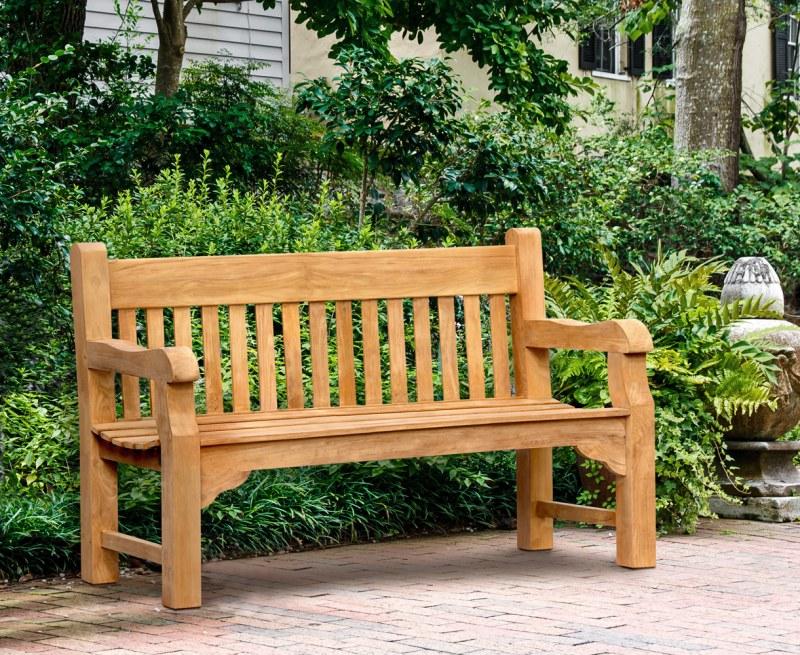 Banchory Solid Wood Teak Park Bench – 1.5m