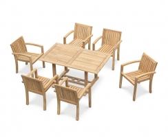 Hilgrove Rectangular 1.5m Table & 6 Monaco Stacking Chairs